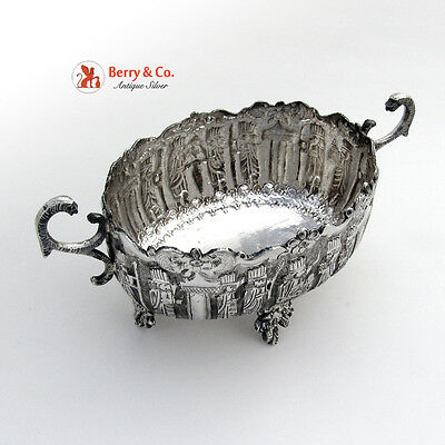Persian Figural Bowl  Serpent Handles Floral Feet Sterling Silver 1930