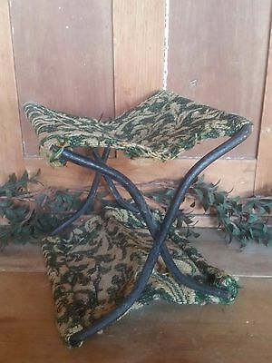 Antique Victorian Cast Iron Folding Buggy Seat Foot Stool Embroidered Original