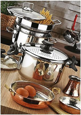 Stainless Steel Pasta / Spaghetti Pot Stockpot Strainer With Induction Base