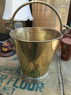 Large Antique Victorian English Solid Brass Fireman's Bucket Country House