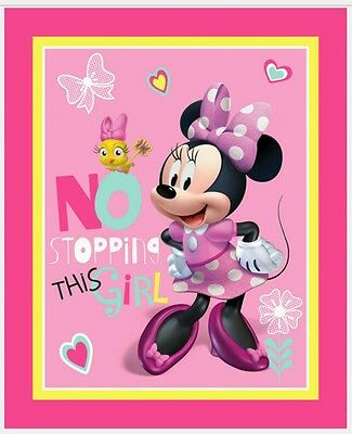 Disney Minnie Mouse * No Stopping This Girl Quilt Panel*pink*new * Free Post *