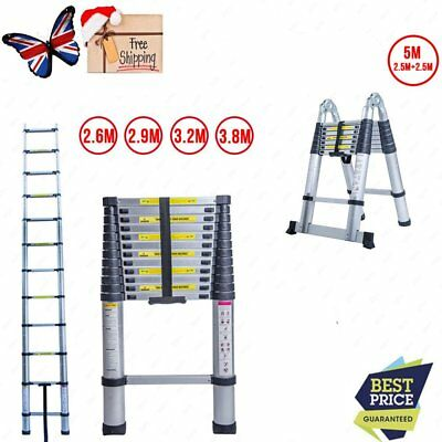 2.6/2.9/3.2/3.8/5.0M Aluminum Telescopic Ladder Multi Extension Extendable CY UK