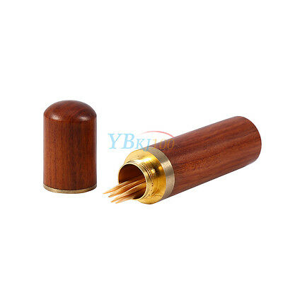 Rosewood Wood Toothpick Holder Case Box Capsule Portable Wooden Craft Hiking mar