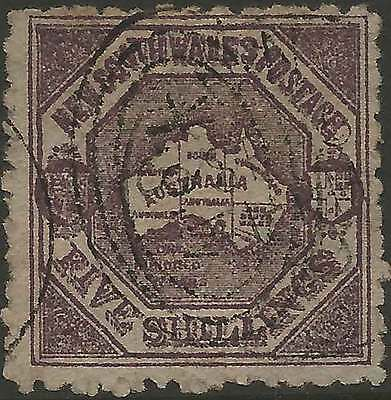 NSW 1888 Centenary of NSW - MAP 5/- Violet ACSC55 cv$125 lovely fine used stamp