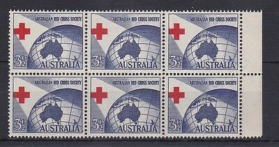 BD398) Australia 1954 Red Cross Misplaced block of 6
