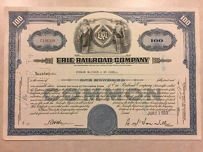 1945 Stock Certificate Erie Railroad Company 100 Shares (Dowell)