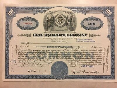1945 Stock Certificate Erie Railroad Company 100 Shares (Sugar)