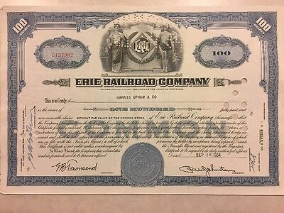 1945 Stock Certificate Erie Railroad Company 100 Shares (Upham & Co.)