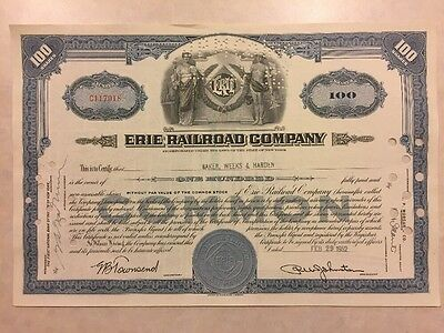1945 Stock Certificate Erie Railroad Company 100 Shares (Weeks)