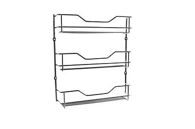 3 Tier Chrome Spice Rack Pantry Kitchen Cupboard Door Wall Mounting Included