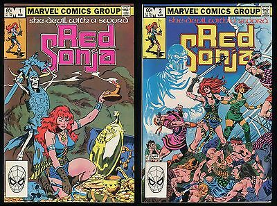 Red Sonja 1983 Marvel 2nd Series Comic Set 1-2 Lot Roy Thomas John Buscema cover