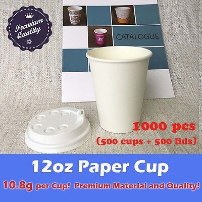 1000pcs 12oz DisposableCoffee paper cup lid White10.8g Premium Material Party