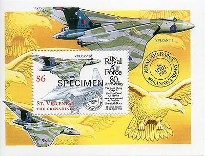 St Vincent The Royal Air Force miniature sheet Specimen overprint UM (MNH)