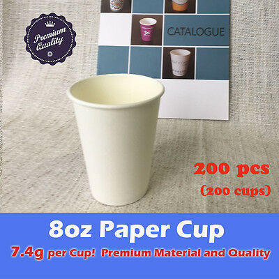 200pcs 8oz Disposable Coffee White Paper Cups 7.4g Premium Material Takeaway