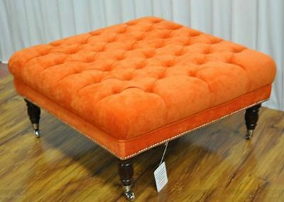 "footstool stool ottoman buttoned  34""x 34"" x16"" FABRIC IBIZA11 ORANGE COLOUR"