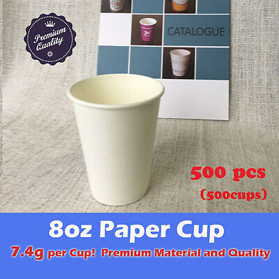 500pcs 8oz Disposable Coffee Paper Cups White 7.4g Premium Material Takeaway
