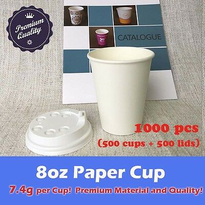 1000pcs/500sets 8oz Disposable Coffee White Paper Cups Single Wall W/Lids Party