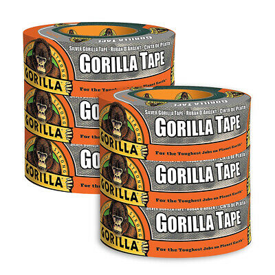 6 x Gorilla Glue Silver Adhesive Duct Tape UV & Weather Resistant 48mm x 32m