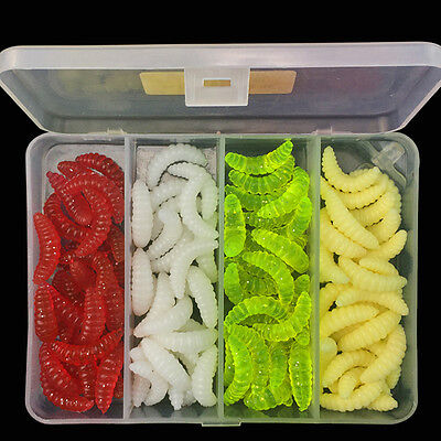 100Pcs/Box Soft DOP Fishing Lures Maggots Grubs Worms Baits Trout Bream