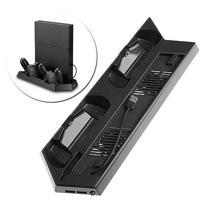 Dual Charging Station + Vertical Stand Cooling Fan For PS4 Slim Pro Console New