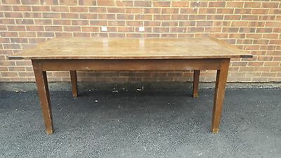 Antique Oak Kitchen/french Farmhouse/ Dinning Table. With Bread Slide