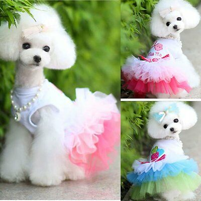 Lace Skirt Pet Puppy Small Dog Cat Princess Tutu Dress Clothes Apparel Costume