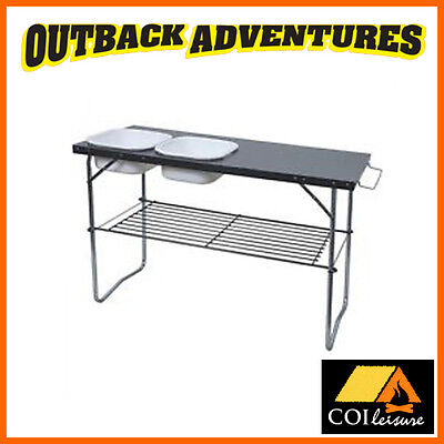 COI LEISURE EXECUTIVE SINK CAMP UNIT TABLE with 2x CAMPING OUTDOOR WASH BASINS