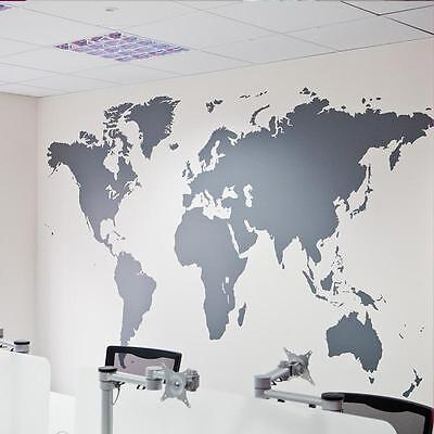 Black Map of the World Wall Sticker Decal Vinyl Art Sticker Home Decor Large