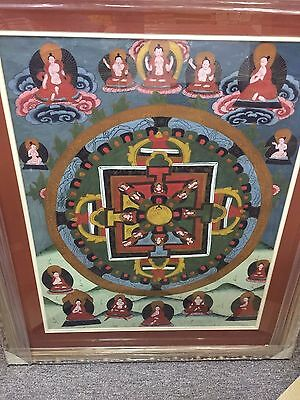 """Tibetan Thangka Buddha Antique Silk Painting Very Old  In New Framed 31""""x26"""""""