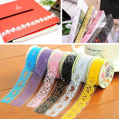 5 X Roll DIY Washi Paper Lace Decorative Sticky Paper Masking Tape Self Adhesive