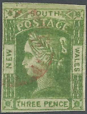 NSW 1851 Laureate 3d Yellow-green good4M imperforate ACSC6a sg87 cv£50 fine used