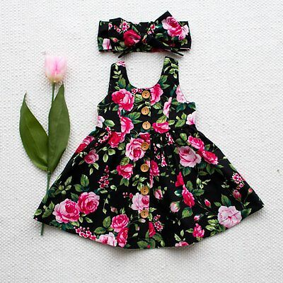 Cute Toddler Kids Baby Girl Dress Floral Party Dresses Sundress Headband Outfits