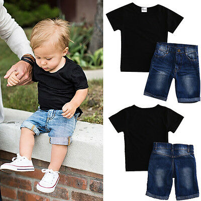2PCS Toddler Baby Boys Short Sleeve Shirt Tops + Jeans Set Kids Clothes Outfits