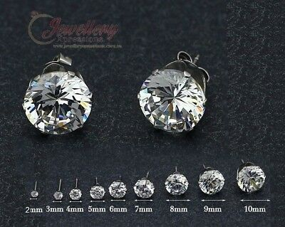 Stainless Steel Cubic Zirconia Stud Earrings E102