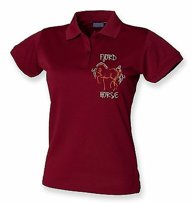 FJORD HORSE MAROON BURGUNDY  POLO SHIRT Equestrian clothing