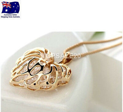 18k Gold Plated Heart Pendant Long Necklace Chain Jewelry