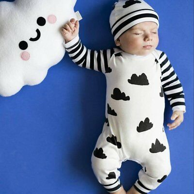 Newborn Baby Girl Boy Clothes Bodysuit Romper Jumpsuit Outfits White+Black