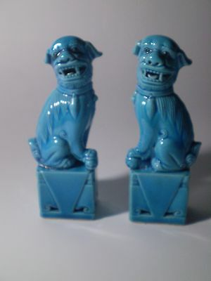 2 X Antique Blue Glazed Chinese Porcelain Lion/ Foo Dog Temple Guardian Statues.