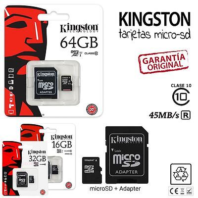 Tarjeta MicroSD Kingston 16/32/64 GB Clase 10 - Memoria Micro SD CAMARAS MOVILES
