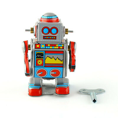 Cool Wind Up Tin Robot Clockwork Toy w/ Key Perfect Collectible Gift Decoration