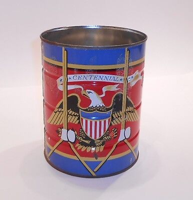 Vintage Centennial Chase and Sanborn Patriotic 2 Pound Coffee Tin Can Drum Eagle
