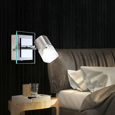 LED wall spotlight switches reading lamp portable spot glass cube clear EEK A +