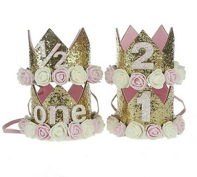 Baby Birthday Crown Hat 1st 2nd 3rd Cake Smash outfit Party Photoshoot Girls UK