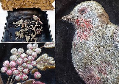 17th – EARLY 18 C. STUMPWORK VELVET PANEL BIRDS, TREE & FLOWERS - AMAZING RARE