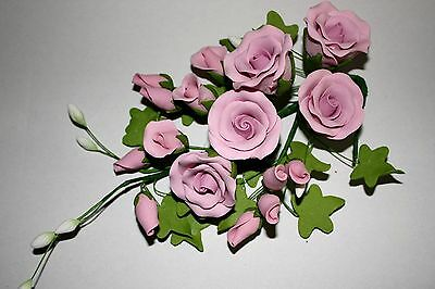 LARGE LILAC Tea Rose Spray, Sugar Flowers, Cake Topper, Gum Paste, Sugar Paste