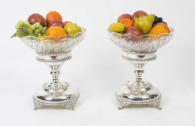 Pair English Silver Plate Cut Glass Compote Centrepiece