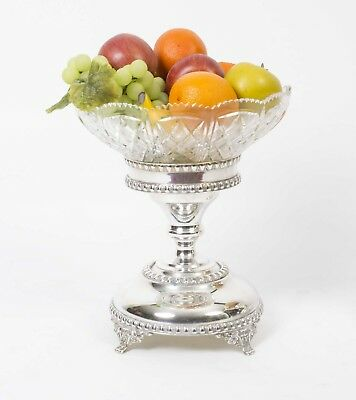 English Silver Plate & Cut Glass Comport / Centrepiece
