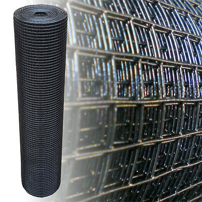 """Welded Wire Mesh 1"""" x 1"""" x 25m Black PVC Aviary Hutches Fencing Pet Run Coop"""
