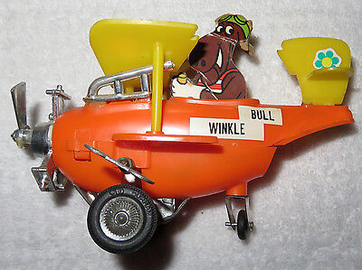 "Vintage ROCKY & BULLWINKLE 1970's Wind Up Toy Airplane 7"" Plane RARE AS IS"