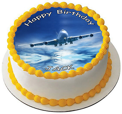 AEROPLANE JET 7.5 PREMIUM Edible ICING Cake Topper - YOUR OWN TEXT - AIRPLANE D1